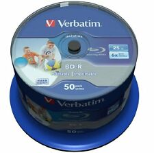 50 BD-R Blu Ray 25GB Verbatim 6x Printables Imprimibles Bluray Blue Virgenes 100
