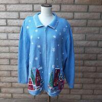Liz & Me Zip Front Cardigan Christmas Village Sweater Women's 3X 26 28 Blue Bead