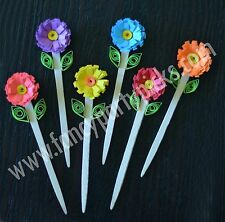 Multi Color Flower Picks, Cupcake Toppers, Toothpicks Decorations, 12 pcs