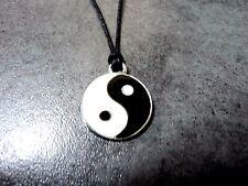 New Yin Yang Enamel Necklace Pendant Metal Charm Hippie Black Cord White