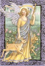 """Christmas Card : """"ANGEL WITH TWO FAWNS"""" Gold Foil Design - by Cleo!"""