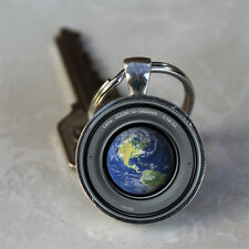 Earth Seen Through Camera Lens Glass Dome Keychain (GDKC0466)