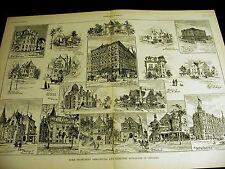 Chicago Homes 1890 WATSON SCHMITT RAND NEWBURY PURDY COLE AYER SPAULDING Print