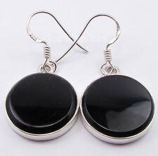 "925 PURE Silver CABOCHON BLACK ONYX Round Flat Gem MODERN Earrings 1.3"" NEW"