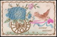 BIRTHDAY GREETINGS Vtg Flocked Postcard Dove Pulling Forget-Me-Not Flower Cart
