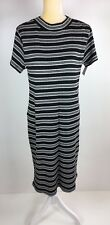 Liz Lange Maternity Women Size M Black White Striped Sweater Midi Maxi Dress