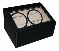 4 + 6 BLACK LEATHER WATCH WINDER STORAGE DISPLAY CASE BOX AUTOMATIC ROTATION