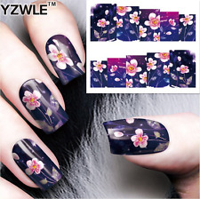 Nail Art Water Decals Stickers Transfers Pink MoonFlowers (A-64)