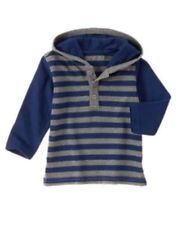 NWT Gymboree Junior Stunt Double Hooded Striped Henley Shirt 18 24