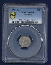 AUSTRALIA  1917  THREEPENCE SILVER COIN, ALMOST UNCIRCULATED CERTIFIED PCGS AU50