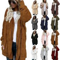 Women Warm Teddy Bear Fluffy Coat Ladies Hooded Fleece Jacket Outwear Plus Size