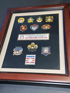 1986-1995 NATIONAL BASEBALL HALL OF FAME PIN SET PROFESSIONALLY FRAMED~YAZ +