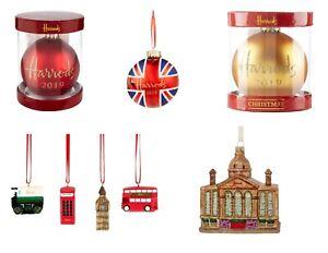 Harrods Christmas Xmas Bauble Ornament Decoration Gold Red Union Jack 2020 2021