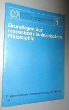 DDR- PROPAGANDA Grundlagen marx. Len. PHILOSOPHIE 1975 vom MINISTERRAT Heft 1