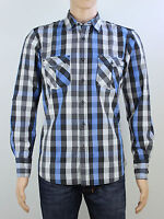Tokyo Laundry mens Size medium blue black check long sleeve shirt
