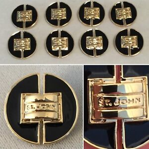 "Lot of 8 ST. JOHN Brass Gold-Tone & Black Lacquer Enamel .75"" Buttons"