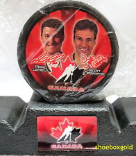2002 McDonalds Team Canada Hockey Puck, Mario LEMIEUX and Scott Neidermayer