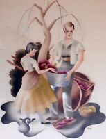 MIDCENTURY RARE VINTAGE ART BY FAMOUS ARTIST BENJAMIN HARRIS WATERCOLOR AIRBRUSH