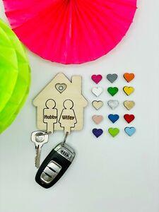 Personalised Keyring Holder, Wooden Keyring House, Personalised Key Holder