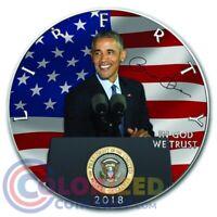 2018 1 oz $1 American Silver Eagle Barack Obama Colorized Coin Box & COA