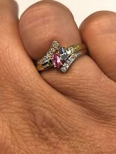 Gold Tone Personalized Mother Ring Engraved 2 Names Birthstone Family Sz 6.5