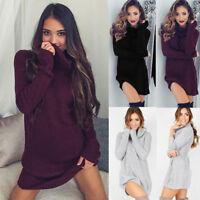 Women Long Sleeve Cowl Neck Pullover Loose Sweater Jumper Top Knitwear Dress