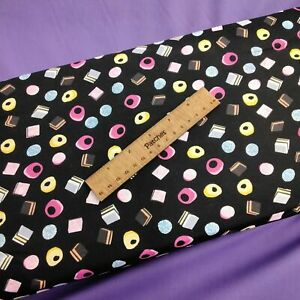 Liquorice Sweets on Black 100% Cotton Fabric Material 110cm Wide