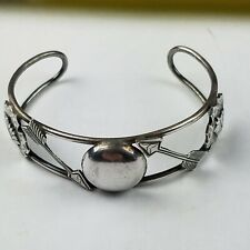 Native American Fred Harvey Era Sterling Silver With Indian Chiefs Bracelet