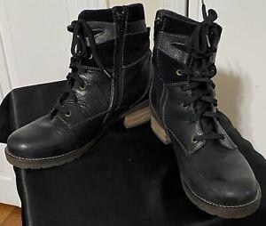 "Dromedaris ""Kara"" Women's Black Leather/Suede Ankle Combat Side Zip Boots Sz 42"