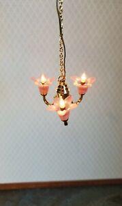Dollhouse Miniature Chandelier Pink Flowers Light 3 Arm Electric 1:12 Scale