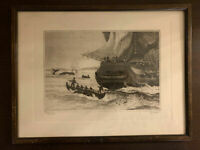 """""""Boats Away"""" Original Etching by R.H.Palenske Reproduced inTalio Chrome."""