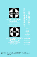 K4 G 1:32 Decals Santa Fe 36 Ft and 50 Ft Wood Boxcar White