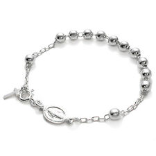 """925 Sterling Silver 7"""" Rosary 5mm Bead Bracelet with Cross"""