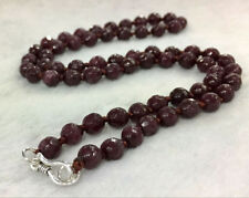 """New Exquisite 6mm Faceted Red Garnet Gemstone Necklace 18"""" 925 Silver Clasp A"""