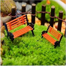 New 1pc Garden Ornament Miniature Park Seat Bench Craft Fairy Dollhouse Decor