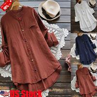 Women Button Down Blouse Shirt Cotton Linen Ladies Casual Loose Tunic Tops S-5XL