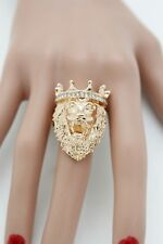 Fun Women Gold Metal Lion Ring Fashion Jewelry Crown King Bling One Size Band