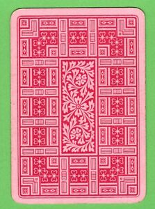 1 Single ANTIQUE OLD WIDE playing/swap card REVERSIBLE FLORAL GEOMETRIC ART P13