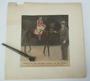 Vintage 1934 Hand colored Clipping of racehorse PEACE CHANCE, Belmont Stakes