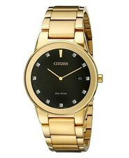 CITIZEN Eco-Drive AU1062-56G AXIOM 2-Hand Men's Gold Tone Diamond Dial Watch