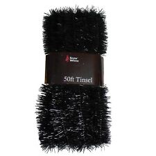 Christmas Tree Decoration 50ft X 3cm Tinsel Great Value - Black & Silver