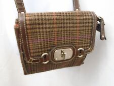 Vintage Chaps Houndstooth Wool Blend Faux Leather Crossbody Purse Bag Brown 3b077560bb4d2