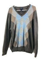 Banana Republic Sweater Mens 2XL Brown Blue Argyle Merino Wool Pullover V Neck