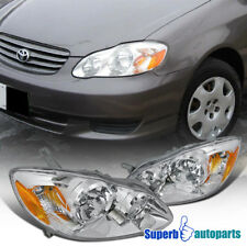 for 2003-2008 Toyota Corolla Diamond Headlights Clear Head Lamps Chrome