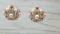 Vintage Ciro Rhinestone & Faux pearl Round Classic Statement Clip on earrings