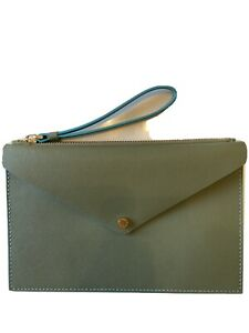 Marc Jacobs Oilve Green Leather Envelope Clutch