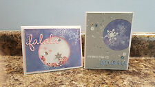 New listing 2 Handmade Winter Greeting Cards with Snowflakes and Sequins
