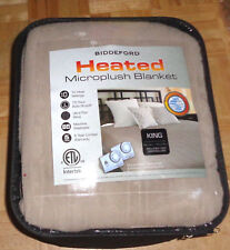 Biddeford Microplush Electric Heated King Blanket - Brown - Two Controllers New