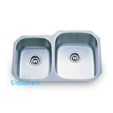 """New listing 32"""" Stainless Steel Undermount 40/60 Double Bowl Kitchen Sink"""