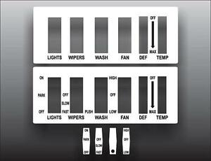1966-1973 Jeep Commando Jeepster White Heater Lights Panel Wiper Overlay